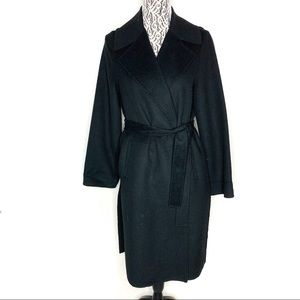 Zara wool blend black wrap coat size XS